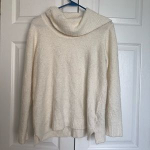 Calvin Klein cowl neck white cable knit sweater